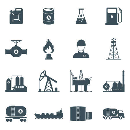 oil and gas industry icon set. oil drilling, refining, production, transportation and storage process. isolated on white background.