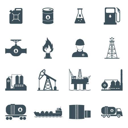 zestaw ikon przemysłu ropy i gazu. wiercenie ropy naftowej, rafinacja, proces produkcji, transportu i przechowywania. na białym tle.