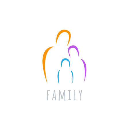 family symbol or sign. parents with child icon. kid between father and mother emblem. isolated on white background.