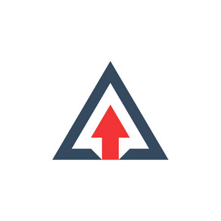 arrow up inside triangle. abstract business growth concept. triangular pyramid symbol. optical illusion shape. isolated on white background. vector illustration 일러스트