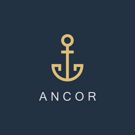 anchor icon. linear business symbol. line luxury sign. isolated on blue background. vector illustration