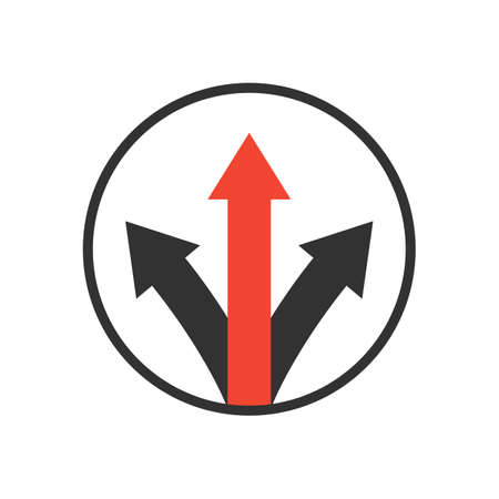 advantage icon. competitive strategy concept. three way arrow symbol. isolated on white background. vector illustration