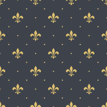 fleur-de-lis royal, luxury seamless pattern background. new orlean ornament with diagonal golden heraldic symbol fleur-de-lis and dots. vector illustration Illustration