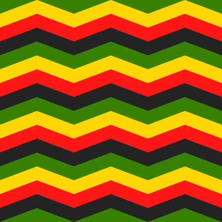jamaica chevron seamless pattern. rastafarian background. zigzag wallpaper in classic rasta reggae colors. vector illustration