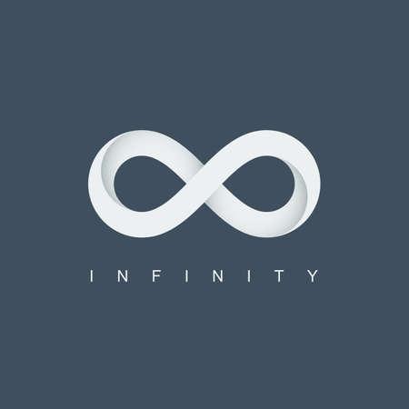 simbolo o icona dell'infinito. logo infinito. ciclo di mobius. segno illimitato. isolato su sfondo blu. illustrazione vettoriale