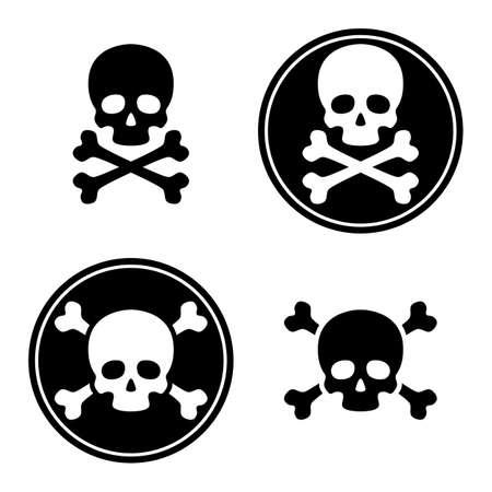 skull and crossbones icon set. death or danger symbol. jolly roger - pirate sign. skeleton head. isolated on white background. vector illustration Illustration