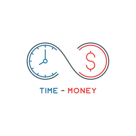 thin line time is money concept. outline infinity symbol with clock and coin. linear future income logo. editable stroke. isolated on white background. vector illustration Illustration