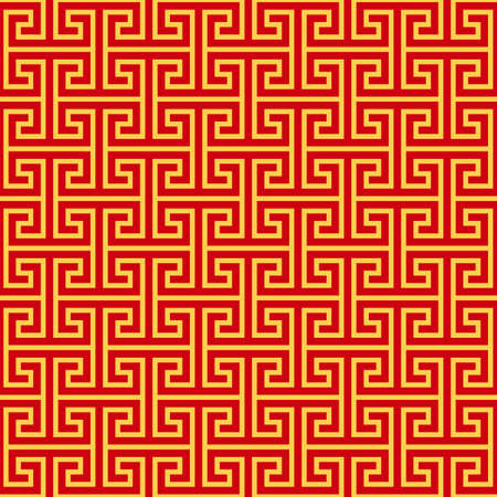 chinese geometric seamless pattern. traditional asian red gold background. oriental ornament. vector illustration