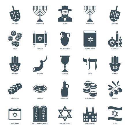 hanukkah jewish holiday icons set. traditional judaism symbols collection: dreidel, torah, menorah, david star, gelt, challah bread, sufganiyot, chai. isolated on white background. vector illustration