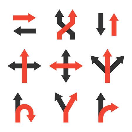 décider ensemble d'icônes. faire un symbole de décision. signe de flèche de direction. à gauche ou à droite. choix d'incertitude. logo de stratégie concurrentielle. voie inconnue. isolé sur fond blanc. illustration vectorielle
