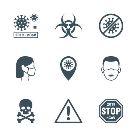 Pandemic risk warning icons set. Vecteurs