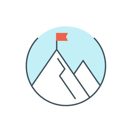 thin line business mission icon. linear leadership concept. achievement goal. outline flag at mountain top. success marketing vision. editable stroke. isolated on white background. vector illustration