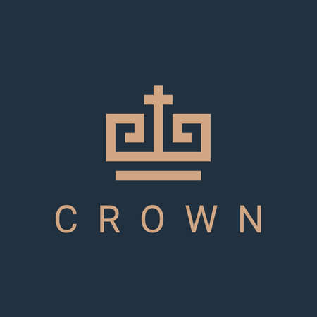 crown  icon design template. royal linear business symbol or sign. king or queen line luxury logotype. abstract geometric concept. isolated on blue background. vector illustration