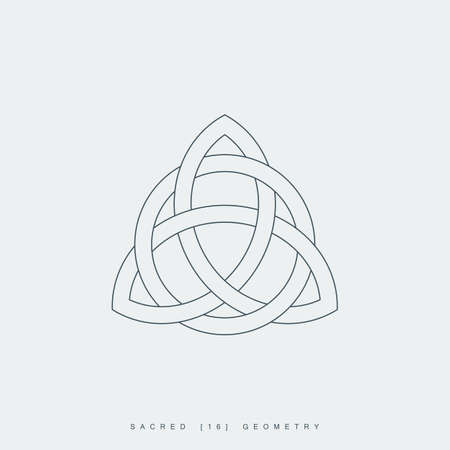 thin line triquetra symbol interlaced with a circle. outline celtic trinity knot icon. lineart trinity sign. sacred geometry.