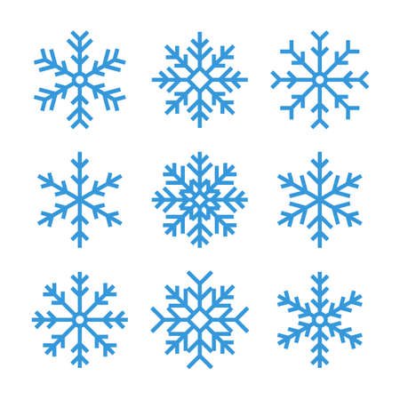 thin line snowflake icons. blue frozen star  or symbol. outline winter collection. lineart christmas set. editable stroke. isolated on white background. vector illustration Ilustração