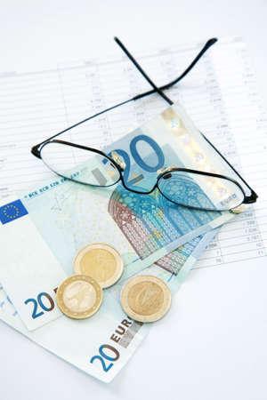 billing: Money on the billing sheet Stock Photo