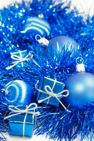 christmas motive: Christmas motive with gift and balls in blue tone Stock Photo