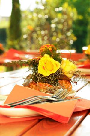 outdoor restaurant: Outdoor dining - Table decoration in outdoor restaurant Stock Photo
