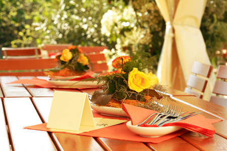 Outdoor dining - Table decoration in outdoor restaurant Stock Photo