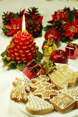 Christmas still life with gingerbread photo