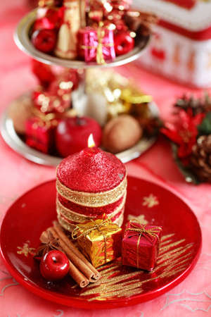 Red Christmas - Festive tabletop or table decoration for Christmas time in red tone photo