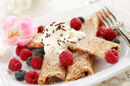 afters: Crepes filled with chocolate and fruits