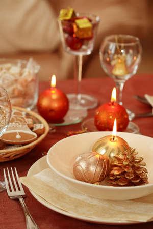 Festive table setting for Christmas photo