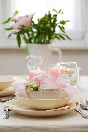 serviettes: Fine table setting Stock Photo