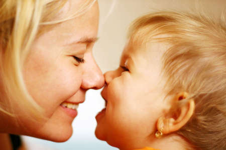 mom and child: Family moments - Mother and child have a fun