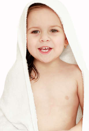 Small girl after the bath isolated Stock Photo