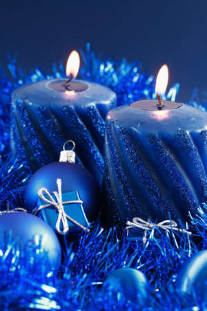 Christmas motive with gift and balls in blue tone Stock Photo - 1977480