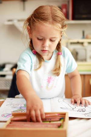 kiddies: Cute little girl painting