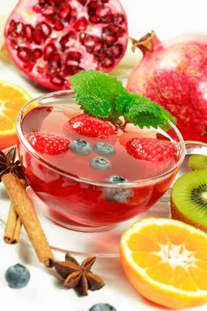 Winter fruit tea with fresh fruits Stock Photo - 2101658