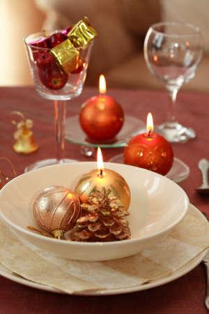 Christmas table setting photo