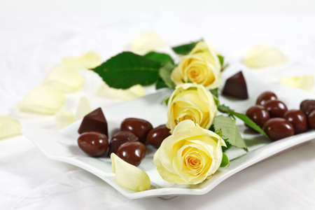 Delicious chocolate pralines with rose on white plate photo