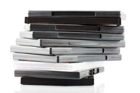 batch: Close-up lote de DVDs en cajas de embalaje Foto de archivo