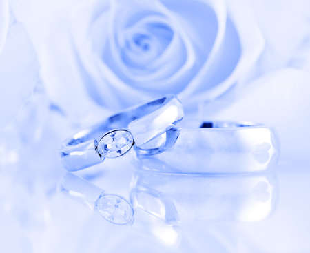 proposal of marriage: Wedding still life in blue tone
