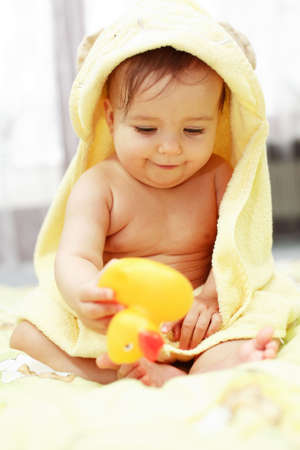 Cute baby after bath Stock Photo