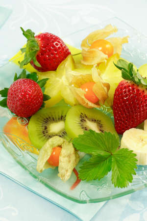 Fresh fruits as dessert with low calorie photo