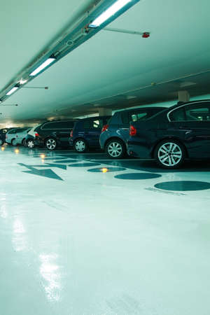 Parking in the parking garage in cyan tone