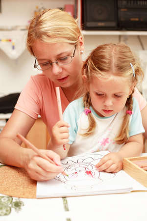 kiddies: Mother and daughter painting together