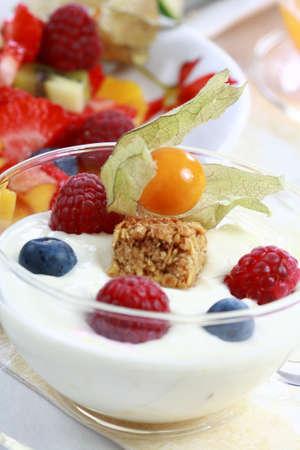 Healthy breakfast or snack - yogurt with fruits