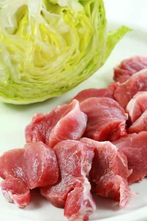 Raw pork meat with iceberg lettuce photo