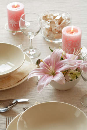 catered: Festive table setting for wedding or other event Stock Photo