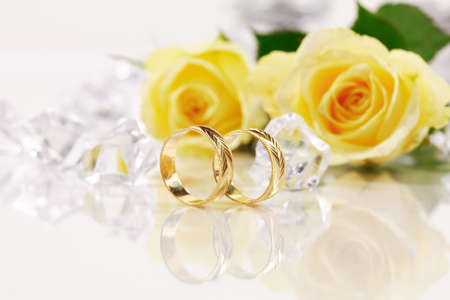 the bands: Wedding still life with beautiful golden rings
