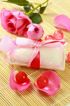 Luxury soap of natural basis with rose petals photo