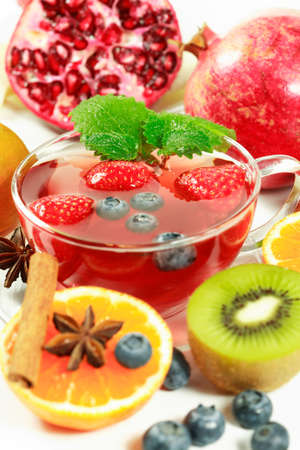 Fruit tea with fresh fruits Stock Photo - 3340973