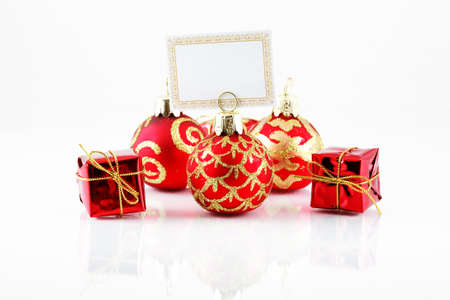 Small Christmas ball with label for your text photo