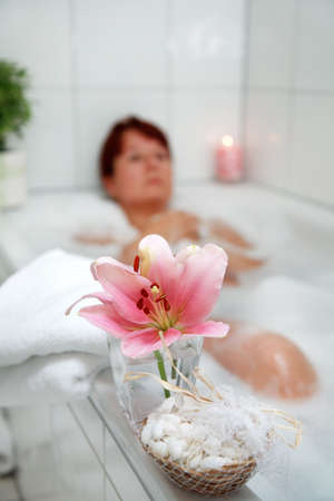 restful: Taking a bath and relaxing Stock Photo