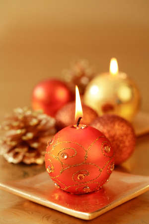 Christmas candles with copy space photo